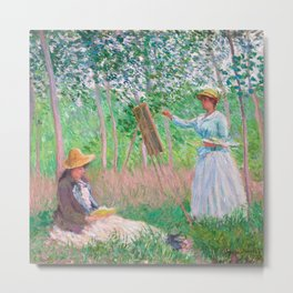 Claude Monet - In the Woods at Giverny, Blanche Hoschedé at Her Easel with Suzanne Hoschedé Reading Metal Print