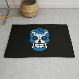Sugar Skull with Roses and Flag of Scotland Rug