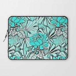 Trendy modern teal watercolor water lilies floral Laptop Sleeve