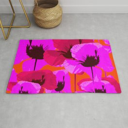 Pink And Red Poppies On A Orange Background - Summer Juicy Color Palette Retro Mood #decor #society6 Rug