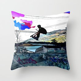 Let's Scoot! - Stunt Scooter at Skate Park Throw Pillow