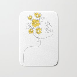 Mustard Bloom Girl Bath Mat