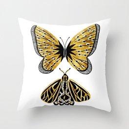 Golden Butterfly & Moth Throw Pillow