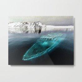 Antarctica Ghost Ship Landscape by Jeanpaul Ferro Metal Print