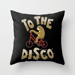 Funny Cute Sloth To The Disco Bicycle Animal Retro Gift Throw Pillow