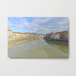 Colorful old houses in Pisa, Tuscany, Italy Metal Print