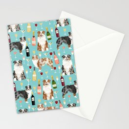 Australian Shepherd blue and red merle wine cocktails yappy hour pattern dog breed Stationery Cards