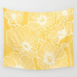 Sunshine Yellow Poppies Wall Tapestry