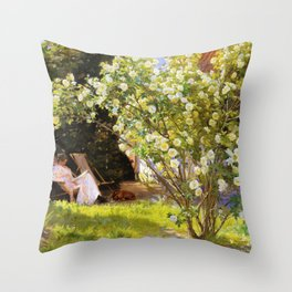 Roses. Marie Kroyer Seated In The Deckchair In The Garden By Mrs Bendsen's House 1893 Throw Pillow
