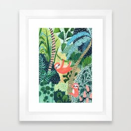 Jungle Sloth Family Gerahmter Kunstdruck