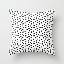 White With Black Polka Dots  Throw Pillow