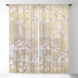 Chinoiserie Gold Sheer Curtain