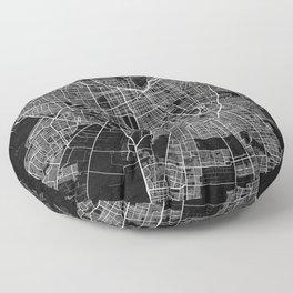 Santiago City Map of Chile - Dark Grunge Floor Pillow