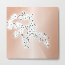 Rose Gold White Cherry Blossom Metal Print