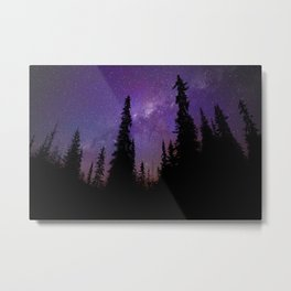 Milky Way Galaxy Over the Forest Metal Print