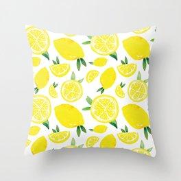 Zesty Lemon Pattern Throw Pillow