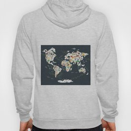 Cartoon animal world map for kids, back to school. Animals from all over the world Hoodie