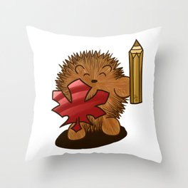 Hedgehog Knight with Leaf Shield and Pencil Sword Throw Pillow