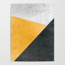 Modern Yellow & Black Geometric Poster