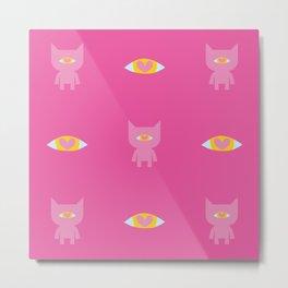 Cats, Hearts, Eyes - PINK Metal Print