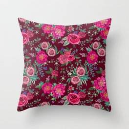 Burgundy Floral Thanksgiving , fall & winter floral in watercolor Throw Pillow