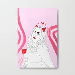 Devil With Rose Metal Print