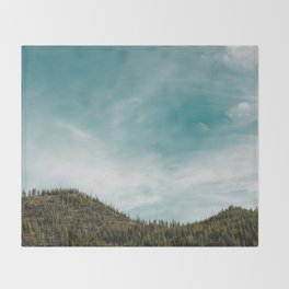Teal Sky Forest Mountain Throw Blanket
