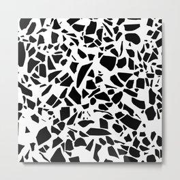 Terrazzo Black on White Metal Print