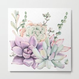 Succulents Mint and Purple by Nature Magick Metal Print