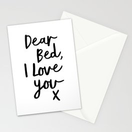 Dear Bed, I Love You X black and white typography poster black-white design bedroom wall home decor Stationery Cards