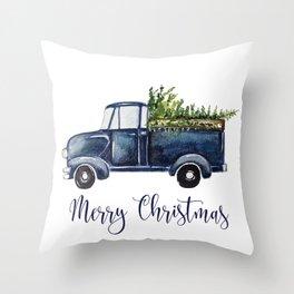 Blue Christmas Truck Throw Pillow