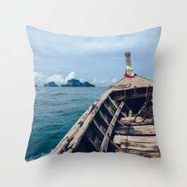 Pacific Boat Adventure Throw Pillow