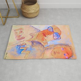 man and woman in the bar Rug