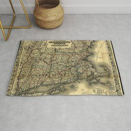 Vintage Map of Southern New England: Connecticut, Rhode Island, and Massachusetts Rug
