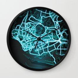 Le Havre, France, Blue, White, Neon, Glow, City, Map Wall Clock
