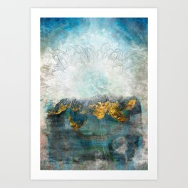 Lapis - Contemporary Abstract Textured Floral Art Print