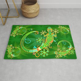 Gecko Lizard Colorful Tattoo Style Rug