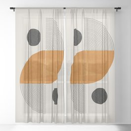 Abstract Geometric Shapes Sheer Curtain
