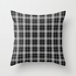 Classic Black and White Tartan Plaid Check Throw Pillow