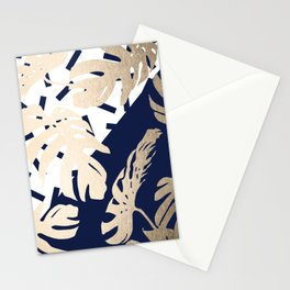 Simply Tropical Nautical Navy Memphis Palm Leaves Stationery Cards