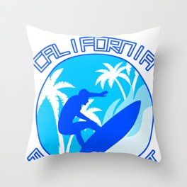 California Pacific Coast Surfing Surfer Waves Gift Throw Pillow