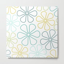 Abstract Flower Outlines Teals Yellow Lime White Metal Print