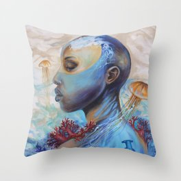 Beyond the waves of the mind Throw Pillow