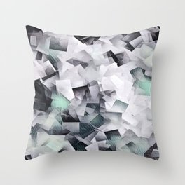 Geometric Stacks Mint Grays Throw Pillow