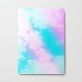 Aqua Blue Pink Unicorn Clouds #1 #decor #art #society6 Metal Print