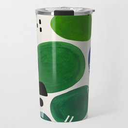 Fun Abstract Minimalist Mid Century Modern Colorful Shapes Lime Green Blue Watercolor Bubbles Travel Mug