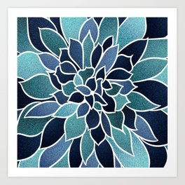Floral Prints, Navy Blue and Teal, Art for Walls Art Print
