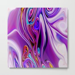 Waves and swirls, abstract, decorative patterns, colorful piece no 24 Metal Print