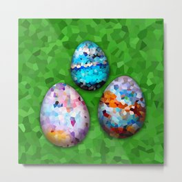 Set colorful easter eggs on white ore green background Metal Print