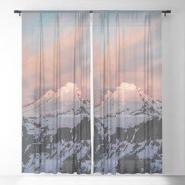 Mount Baker Mountain Adventure Sunset - Nature Photography Sheer Curtain